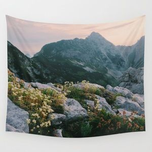 Society6 Mountain Flowers at Sunrise Wall Tapestry